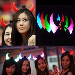 Discount horn toys - New Led Devil Horns Lights Cheering Rave Toys Flashing Hair Clip HeadBand Light-emitting Hairpin Cartoon For Party Decor