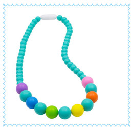 $enCountryForm.capitalKeyWord UK - 2016 New FDA Silicone Teething Pendant Nursing Chewelry Necklaces Kids Chew Beads Chewable Teething Necklace Fit Baby Rainbow