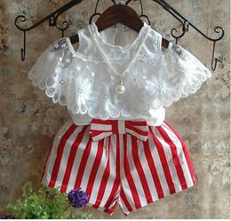 online shopping gilrs set suits summer style girls white short sleeve strapless tops T shirts girls stripe shorts suit baby girls set kids clothes