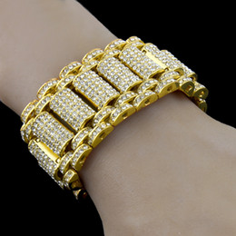 style bracelet alloy 2019 - Hip Hop Rock Style Simulate Diamond Iced Out Bling Bling Bracelets for Men and Women Bling Chain HipHop Bracelet cheap s