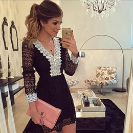 Barato Dhl Vestidos De Verão Para As Mulheres-2017 New Fashion Summer Women Vestido de festa A-line Sexy Black Hollow Out Lace Vestidos Casual Mini Sleeve Mini Dress DHL TL170924