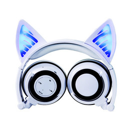 chinese wholesale cosplay UK - Amazing Bluetooth Cat Ear Headphones Fancy Glowing Cosplay Kitty Earphone Foldable Cat Over-Ear Wireless Headset with Mic for PC,Smartphones