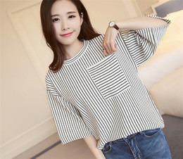 Discount cotton knit tunics - Women Stripe Cardigan Loose Knitted Sweater Middle Sleeves Tunic Tops Tees Black and White Sweater Ladies Fashion Outwea