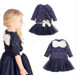 Jupes Longues En Dentelle Pour Filles Pas Cher-Autumn Girls Set Long Sleeve Bowknot Stars Coton Tops Tshirt + Lace Tulle Skirt Kids 2pcs Set Outfits Vêtements pour enfants