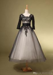 $enCountryForm.capitalKeyWord NZ - 2017 fall tea length lace applique cocktail dress tulle sash black 1 2 sleeves formal A-line prom dress for women