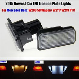 Discount mercedes license plate - Car LED License Plate Lights For Mercedes W211 W203 5D W219 R171 Benz AMG Accessories White SMD Number Plate lamp 12V