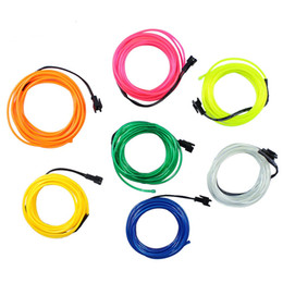 Discount neon rope wire car - 3V 3M EL Wire Tube Rope Battery Powered Flexible Neon Light Car Party Christmas Wedding Decoration With Controller LED s