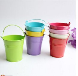 tin buckets favors 2018 - Mix Colros Mini Tin Pails candy mini bucket favors, candy package,party supply discount tin buckets favors
