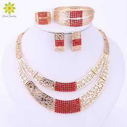 $enCountryForm.capitalKeyWord NZ - 3Colors Jewelry Sets For Women Accessories African Gold Plated Necklace Earrings Bracelet Ring Wedding Bridal Jewelry Set