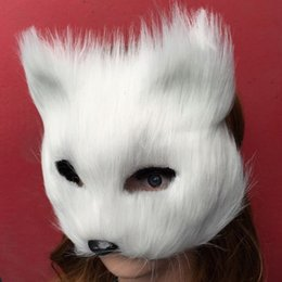 Masque De Chat Cosplay Pas Cher-Masque Anime Animal Party Villus en plastique blanc Arctic Fox Masque Cosplay Partie supérieure Visage Masques d'Halloween Chat, Mascarade