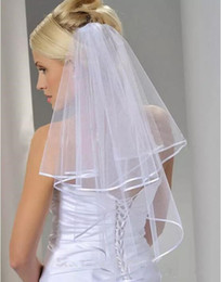 Free Shipping White Ivory 2 Layers Short Bridal Veil with Comb Wedding Veil Wedding Accessories Ribbon Edge on Sale