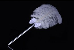 $enCountryForm.capitalKeyWord UK - Western-style wedding products creative 40cm signing a white ostrich feather Pen 10pcs lot free shipping