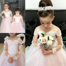 $enCountryForm.capitalKeyWord Australia - Light Pink Ball Gown Flower Girl Dresses For Wedding Lace Appliques Sheer Long Sleeves Girls Pageant Gowns Baby First Communion Dress