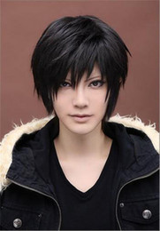 Discount wig cap boy Beauty Men's Short Straight Wig Cosplay Costume Wig Black wig fashion boys full synthetic wigs cap