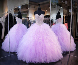 pink lace dress for quinceanera 2019 - Lilac Beaded Pearls Ball Gown Quinceanera Dresses Sweetheart Off the Shoulder Fluffy Tulle Ball Gown Prom Dresses For Gi