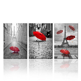 $enCountryForm.capitalKeyWord Canada - Contemporary Wall Art Canvas Black and White Eiffel Tower with Red Unbrella on Paris Street Painting Romantic Picture Unframed(40cmx60cmx3)