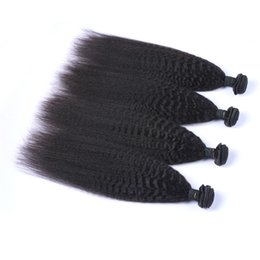 Discount natural brown brazilian hair bundles - Peruvian Human Remy Virgin Hair Kinky Straight Hair Weaves Natural Color 100g bundle Double Wefts 4Bundles lot Hair Exte