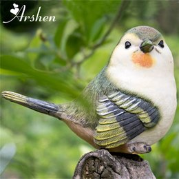 Cute 4 Pcs Set Doll Artificial Birds Resin Statue Figurine Model House Home  Lawn Garden Decor Ornament DIY Craft Gift