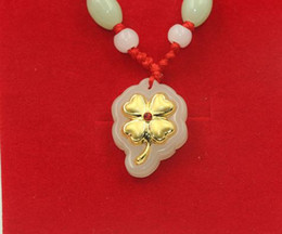 $enCountryForm.capitalKeyWord NZ - Gold inlaid jade lucky pendant A clover necklace and pendant (sifang to gain)