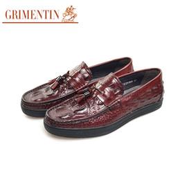 $enCountryForm.capitalKeyWord Canada - GRIMENTIN Mens loafers genuine leather crocodile grain tassel formal mens dress shoes Italian fashion designer casual slip-on male shoes