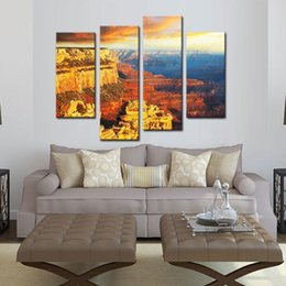 Amosi Art 4 Pieces Wall Art Colorado Grand Canyon Landscape The Pictures  Printed On Canvas For Home Living Room Modern Decoration