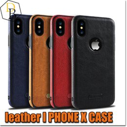 Discount leather stitch iphone case - 2018 New For iPhone x  8  7 Business Leather Pattern Stitching Phone Case TPU Soft Shell Full Protection Anti-drop Case