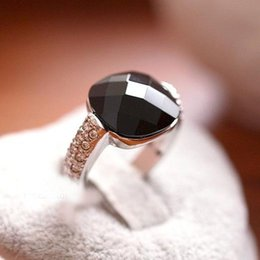 pepper jewelry UK - Anelb Peppers In Micro Square Black Onyx Crystal 925 Sterling Silver Ring Vintage Jewelry Rings For Women