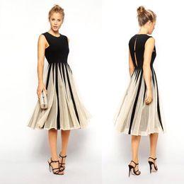 New Fashion Women Work Casual Dress Summer Vestidos Patchwork Sleeveless Black Champagne Chiffon Midi Party Dresses OXL081706 on Sale