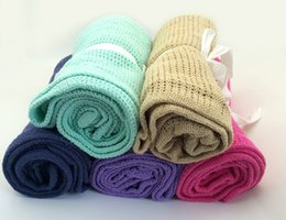 $enCountryForm.capitalKeyWord Canada - 15 Color Newborn Baby Blankets Super Soft Cotton Crochet Summer Candy Color Baby Blanket Crib Casual Bedding Hole Wrap Blanket