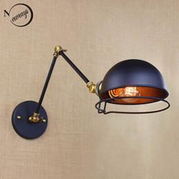 Vintage Swing Arm Wall Lamp NZ - industrial style antique retro black metal wall lamp swing arm wall lighting for workroom Bathroom Vanity 2 applies arm Tornado