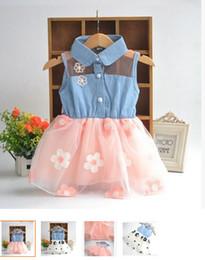 $enCountryForm.capitalKeyWord NZ - Wholesale-Cute Kids Girls Princess Denim Strap Veil Baby Dresses Toddler Clothing