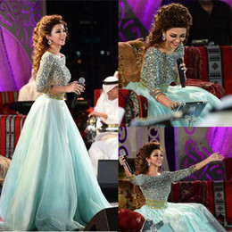 MyriaM fares hot dress online shopping - 2019 Hot Sales Myriam Fares Arabic A Line Bateau Evening Dressess Long Sleeve Sexy Back Orzanga Prom Party Gowns