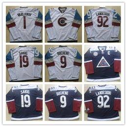 ... Colorado Avalanche Mens Hockey Jerseys 1 Semyon Varlamov 92 gabriel  landeskog 19 Joe Sakic 9 Matt ... 17e973e56