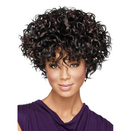 kinky synthetic hair Canada - WoodFestival afro kinky curly wig heat resistant fiber short brown wig curly women wigs ombre african american synthetic hair wigs ombre