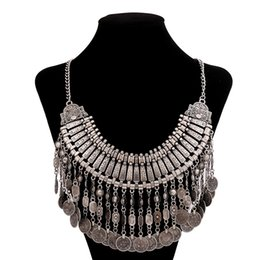 China Fashion European jewelry bohemian style chain coin tassels Turkish statement chunky necklace carving flower choker necklaces suppliers