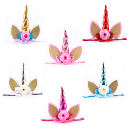 $enCountryForm.capitalKeyWord Canada - 2018 New Toddle Unicorn Flowers Headband Birthday Gifts Lace Crown Hair Bands Headwear Glitter Elastic Tiara Kids Girls Fashion Accessories