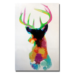 $enCountryForm.capitalKeyWord UK - Modern Canvas Art Free Shipping Home Wall Art Pictures For Sitting Room Decoration Hand Painted Modern Abstract Deer Oil Painting No Framed
