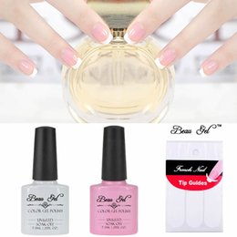 Barato Uv Esmaltes De Rosa Quente-Atacado- Beau Gel UV French Nails Gel Polish Hot Sale Rosa Branco UV Gel Lacquer Verniz para uñas French Nail Art Desing