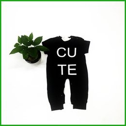 $enCountryForm.capitalKeyWord NZ - black baby rompers children boys girls jumpsuits cute letters print short sleeve long pants newborn bodysuits fashion lovely kids outfits