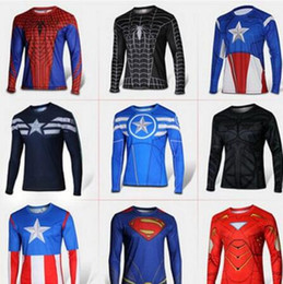 Chemises Supermen Pas Cher-Mens Compression Shirt Superhero Superman Capitan America Iron Man 3D T-shirt Vêtements Gym Fitness T-shirt long Sport