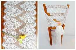 Discount White Table Runners Cotton 42*300cm Jacquard White Lace Table  Runners Chair Sashes Covers