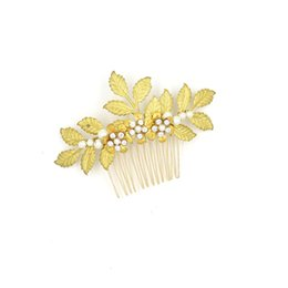 $enCountryForm.capitalKeyWord UK - Vintage Wedding Headpieces Hair Accessories Golden Leaf Comb With Pearls Rhinestones Women Hair Jewelry Bridal Jewelry #HP406