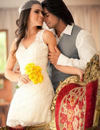 $enCountryForm.capitalKeyWord Canada - Hot Selling Cheap Mini Sheath Lace Wedding Dress Sleeveless V Neck Lace Short 2019 Simple Bridal Gowns Custom Size