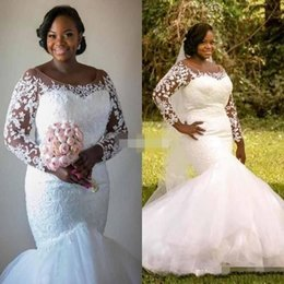 Robes Longues Longues Couvertures Pas Cher-2017 South African Plus Size Mermaid robes de mariée Lace Tiered Tulle Illusion manches longues Robes de mariée Robe de mariée à boutons couvert