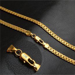 Bijoux coréens en gros européens et américains bijoux chauds or bien 5 MM plein corps 18 K collier en or rose mixte lot en Solde