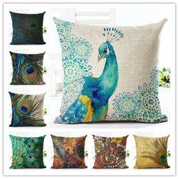 fashion style high quality home decor cushion cover decorative peacock feather printed throw pillowcase cojines almofada