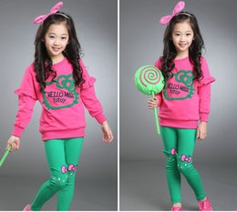 Barato Calças Gato Coreano-Autumn New Kids Tracksuits 2016 Korean Girls Candy Color Casual 2Pieces Conjuntos Lovely Cat Long Sleeve Tops + Bows Pants