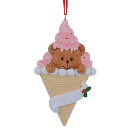 Chinese  Maxora Bear Ice Cream Resin Handcraft Baby 1st Christmas Ornaments Personalized Gifts Charity Birthday Cake For Party Decoration manufacturers