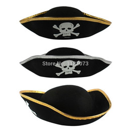 Accessoires De Costumes De Pirate Pas Cher-Halloween Bandana Cap / pirate Chapeau Pirates Of The Caribbean Costume Props Capitaine Hat Masquerade Party Supplies 50pcs / lot