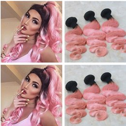 two bundles remy virgin hair 2019 - 9A Ombre Hair Extensions 1B Pink Ombre Brazilian Virgin Human Hair 3 Bundles Two Tone Dark Root Ombre Body Wave Remy Hai